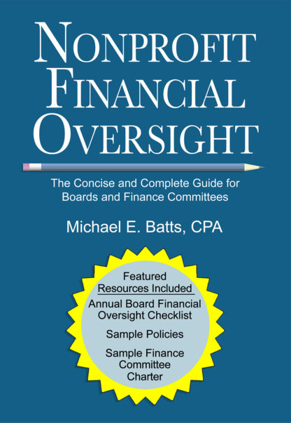 The front cover of the book, Nonprofit Financial Oversight - The Concise and Complete Guide for Boards and Finance Committees