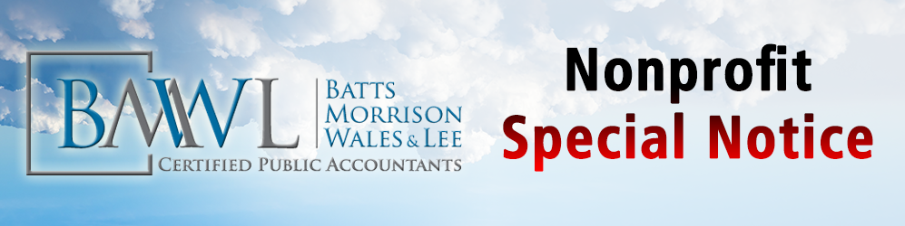 "Batts Morrison Wales & Lee logo with text reading, ""Nonprofit Special Notice"""