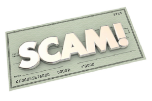 """Check with the word """"SCAM!"""" written across it"""