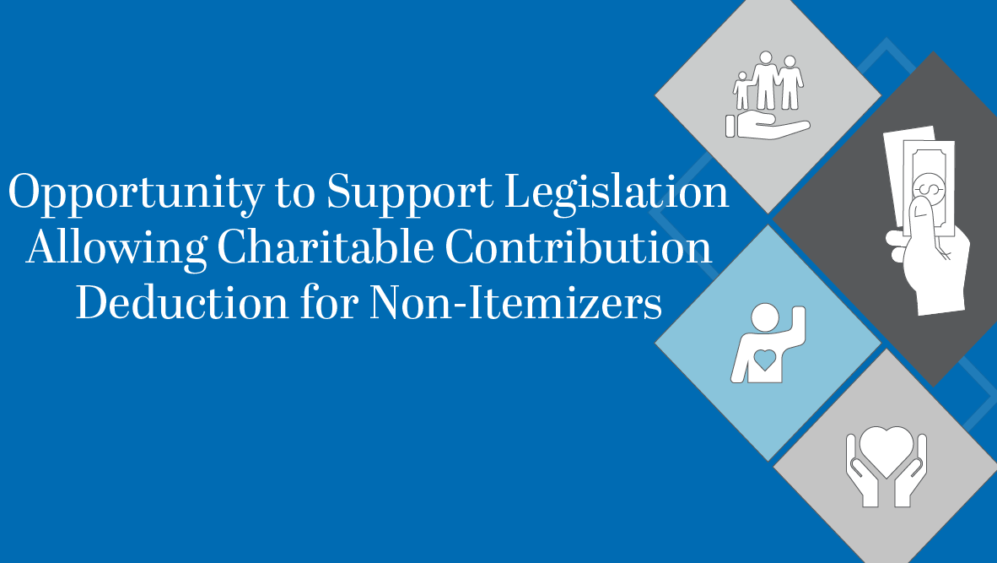 Opportunity to Support Legislation Allowing Charitable Contribution Deduction for Non-Itemizers